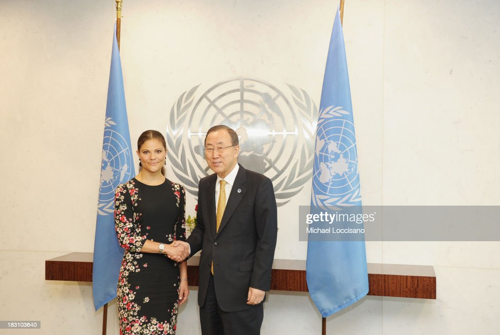 Crown Princess Victoria of Sweden poses with United Nations Secretary-General <a gi-track='captionPersonalityLinkClicked' href=/galleries/search?phrase=Ban+Ki-moon&family=editorial&specificpeople=206144 ng-click='$event.stopPropagation()'>Ban Ki-moon</a> during her visit to The United Nations at the United Nations on October 4, 2013 in New York City.
