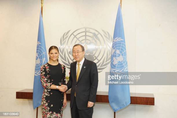 Crown Princess Victoria of Sweden poses with United Nations SecretaryGeneral Ban Kimoon during her visit to The United Nations at the United Nations...