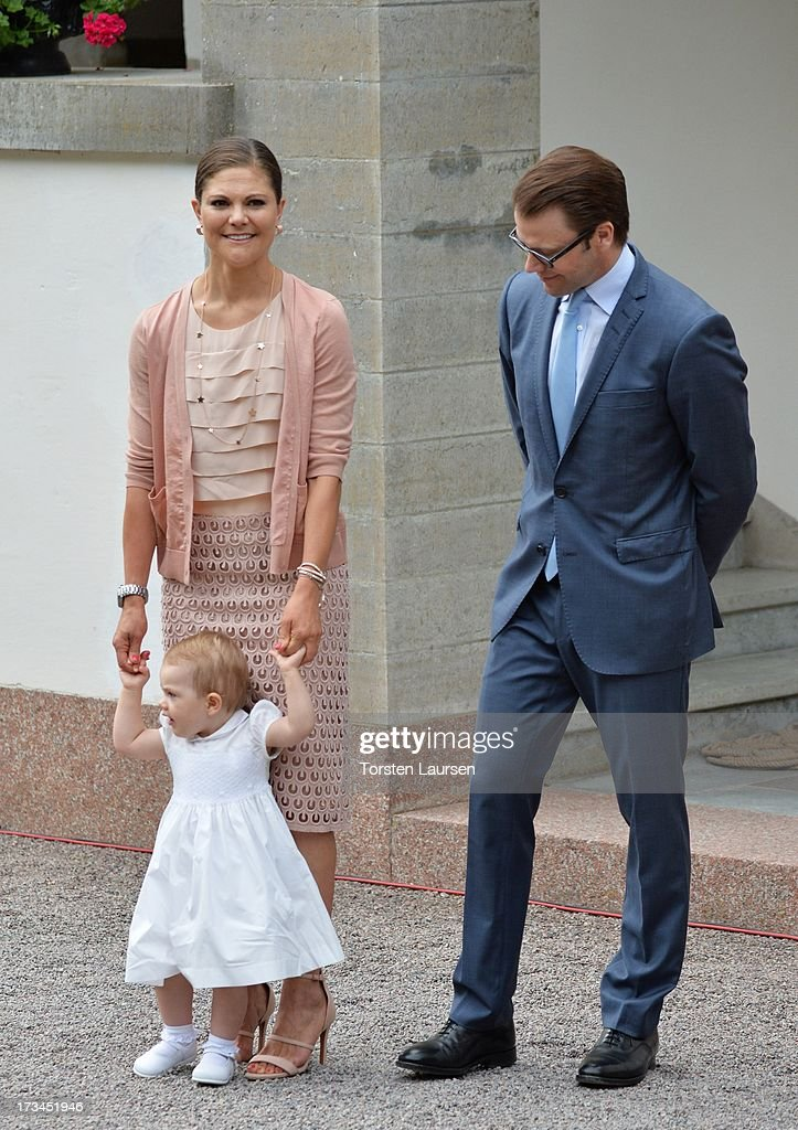 Crown Princess Victoria of Sweden, Prince Daniel, Duke of Vastergotland and daughter Princess Estelle of Sweden attend Victoria Day celebrations at Solliden Castle on July 14, 2013 in Borgholm, Sweden.