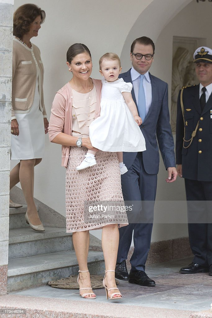 Crown Princess Victoria of Sweden, Prince Daniel of Sweden, and their daughter Princess Estelle of Sweden attend the Victoria Day celebrations, on the Crown Princess's 36th Birthday, at Solliden on July 14, 2013 in Borgholm, Sweden.