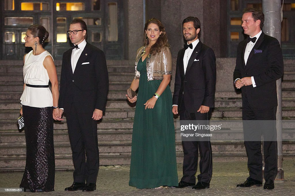 <a gi-track='captionPersonalityLinkClicked' href=/galleries/search?phrase=Crown+Princess+Victoria+of+Sweden&family=editorial&specificpeople=160266 ng-click='$event.stopPropagation()'>Crown Princess Victoria of Sweden</a>, Prince Daniel of Sweden, <a gi-track='captionPersonalityLinkClicked' href=/galleries/search?phrase=Princess+Madeleine+of+Sweden&family=editorial&specificpeople=160243 ng-click='$event.stopPropagation()'>Princess Madeleine of Sweden</a>, <a gi-track='captionPersonalityLinkClicked' href=/galleries/search?phrase=Prince+Carl+Philip+of+Sweden&family=editorial&specificpeople=160179 ng-click='$event.stopPropagation()'>Prince Carl Philip of Sweden</a> and <a gi-track='captionPersonalityLinkClicked' href=/galleries/search?phrase=Christopher+O%27Neill+-+Husband+of+Princess+Madeleine&family=editorial&specificpeople=7470611 ng-click='$event.stopPropagation()'>Christopher O'Neill</a> arrive at the Swedish Riksdag's Jubilee Concert To Celebrate King Carl Gustaf's 40th Jubilee at Stockholm Concert Hall on September 14, 2013 in Stockholm, Sweden.