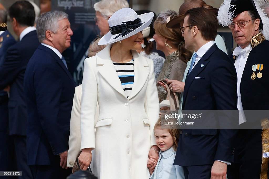 Crown Princess Victoria of Sweden, Prince Daniel of Sweden, Princess Estelle of Sweden and Juan Carlos of Spain are seen at the celebrations of the Swedish Armed Forces for the 70th birthday of King Carl Gustaf of Sweden on April 30, 2016 in Stockholm, Sweden.