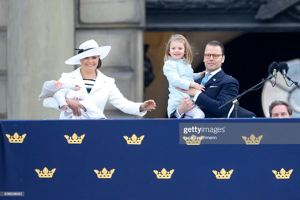 Crown Princess Victoria of Sweden, Prince Oscar of Sweden, Prince Daniel of Sweden and Princess Estelle of Sweden attend the choral tribute and cortege during the celebrations of the 70th birthday of King Carl Gustaf of Sweden on April 30, 2016 in Stockholm, Sweden.