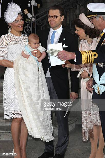 Crown Princess Victoria of Sweden Prince Oscar of Sweden Prince Daniel of Sweden Queen Silvia Of Sweden and King Carl Gustaf of Sweden are seen at...