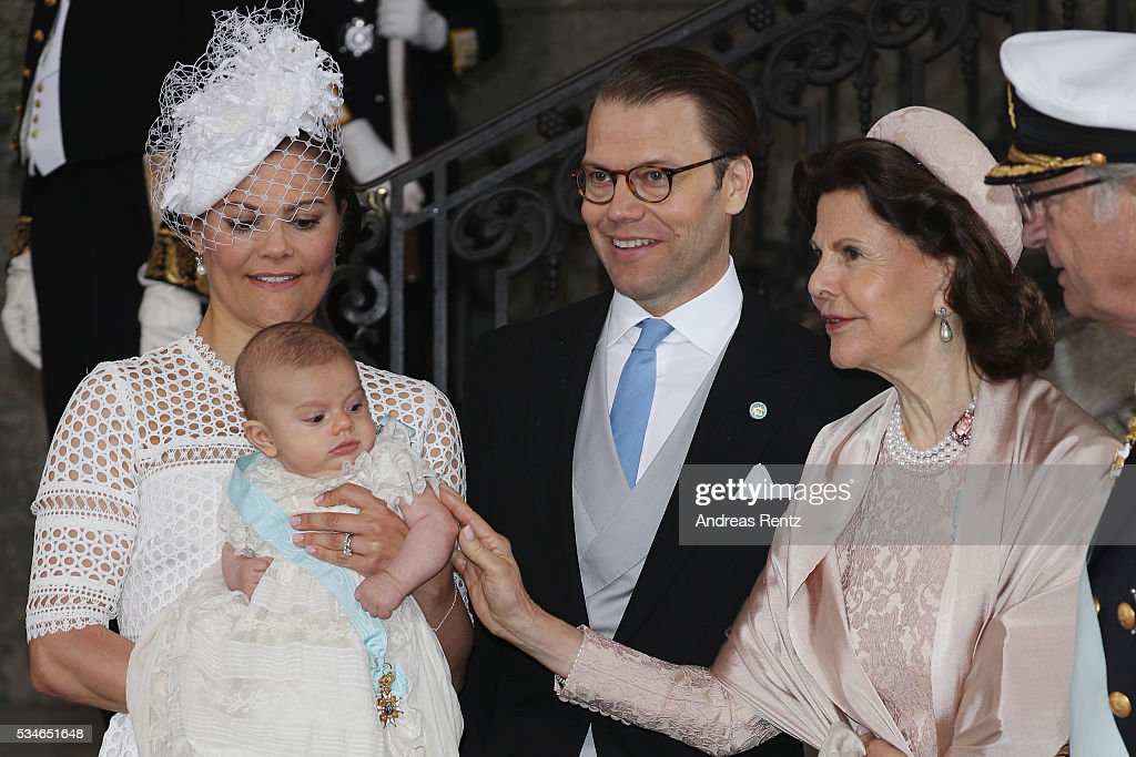 Crown Princess Victoria of Sweden, Prince Oscar of Sweden, Prince Daniel of Sweden, Queen Silvia of Sweden and King Carl Gustaf of Sweden are seen after the christening of Prince Oscar of Sweden at Royal Palace of Stockholm on May 27, 2016 in Stockholm, Sweden.