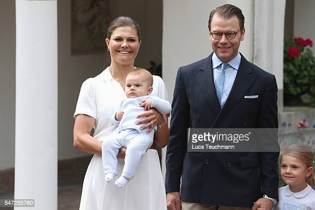 Crown Princess Victoria of Sweden Prince Oscar of Sweden Princess Estelle of Sweden and Prince Daniel of Sweden arrive for Birthday celebrations of...