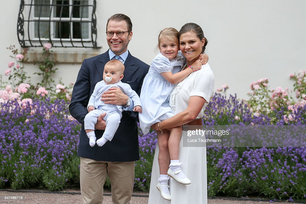 Crown Princess Victoria of Sweden, Prince Oscar of Sweden, Princess Estelle of Sweden and Prince Daniel of Sweden arrives for Birthday celebrations of Crown Princess Victoria of Sweden at Solliden Palace on July 14, 2016 in Oland, Sweden.