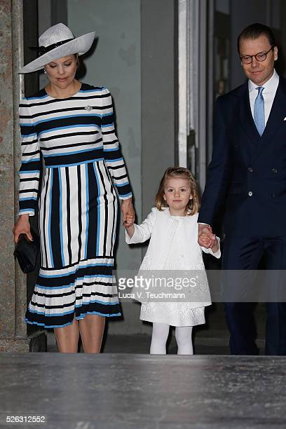 Crown Princess Victoria of Sweden Princess Estelle and Prince Daniel of Sweden arrive at the Royal Palace to attend Te Deum Thanksgiving Service to...