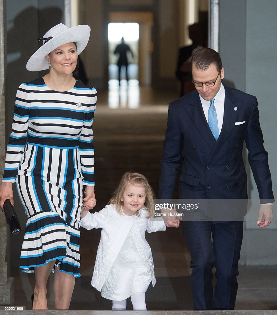 Crown Princess Victoria of Sweden, Princess Estelle of Sweden and Prince Daniel of Sweden arrive at the Royal Palace to attend Te Deum Thanksgiving Service to celebrate the 70th birthday of King Carl Gustaf of Sweden on April 30, 2016 in Stockholm, Sweden.