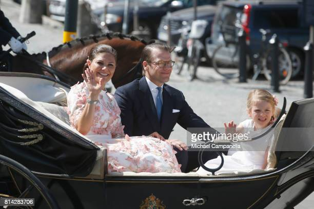 Crown Princess Victoria of Sweden Princess Estelle of Sweden and Prince Daniel of Sweden are seen being escorted from the Royal Palace to the Royal...