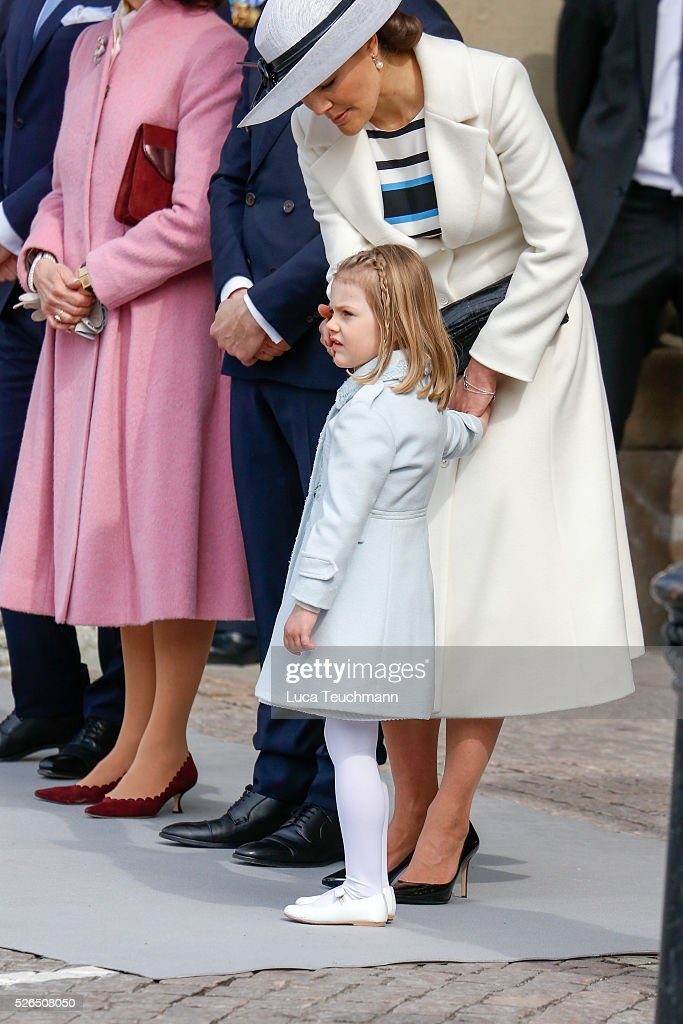 Crown Princess Victoria of Sweden; Princess Estelle of Sweden are seen at the celebrations of the Swedish Armed Forces for the 70th birthday of King Carl Gustaf of Sweden on April 30, 2016 in Stockholm, .