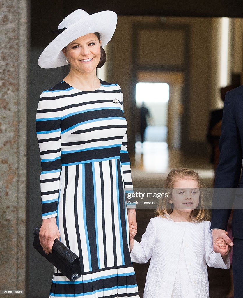 Crown Princess Victoria of Sweden, Princess Estelle of Sweden arrive at the Royal Palace to attend Te Deum Thanksgiving Service to celebrate the 70th birthday of King Carl Gustaf of Sweden on April 30, 2016 in Stockholm, Sweden.