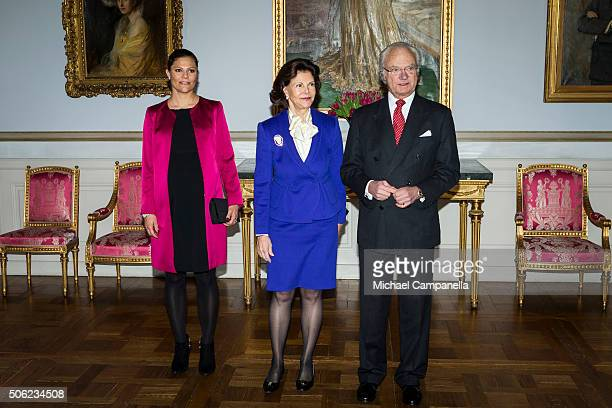 Crown Princess Victoria of Sweden Queen Silvia of Sweden and King Carl XVI Gustaf of Sweden attend the opening of the exhibition 'In Course of Time...