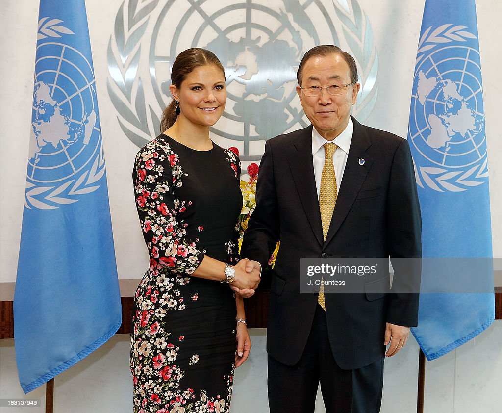 Crown Princess Victoria Of Sweden shakes hands with United Nations Secretary General <a gi-track='captionPersonalityLinkClicked' href=/galleries/search?phrase=Ban+Ki-moon&family=editorial&specificpeople=206144 ng-click='$event.stopPropagation()'>Ban Ki-moon</a> during a visit to the United Nations on October 4, 2013 in New York City.