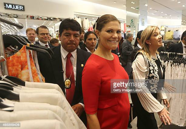 Crown Princess Victoria of Sweden smiles during a visit to HM store at Jockey Plaza on October 19 2015 in Lima Peru
