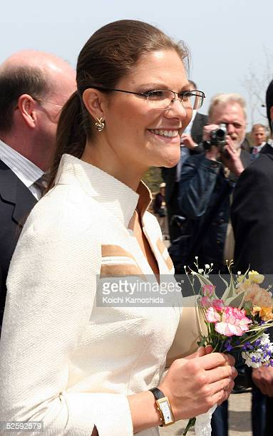 Crown Princess Victoria of Sweden visits at the Nordic Pavilion of the 2005 World Expo April 6 2005 in Nagakute Aichi prefecture of Japan