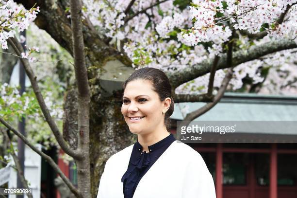 Crown Princess Victoria of Sweden visits Shiogama Shinto Shrine on April 21 2017 in Shiogama Japan Crown Princess Victoria is visiting Japan from...