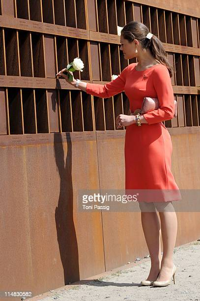 Crown Princess Victoria of Sweden visits the Berlin Wall Memorial on May 27 2011 in Berlin Germany