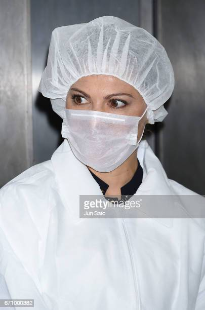 Crown Princess Victoria of Sweden visits the Meiho Tuna Fishery on April 21 2017 in Shiogama Japan Crown Princess Victoria is visiting Japan from...