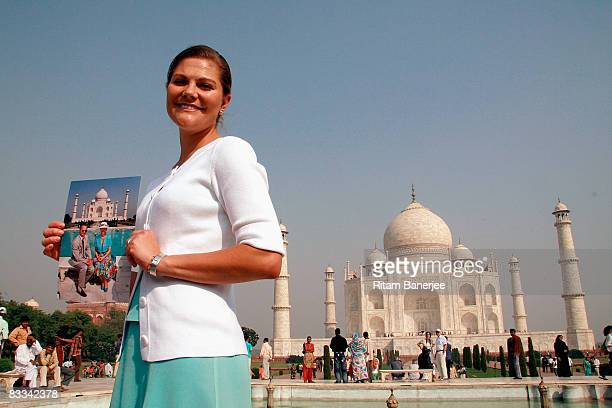 Crown Princess Victoria Of Sweden visits the Taj Mahal on October 19 2008 in Agra India During her stay in India the Crown Princess will also visit...
