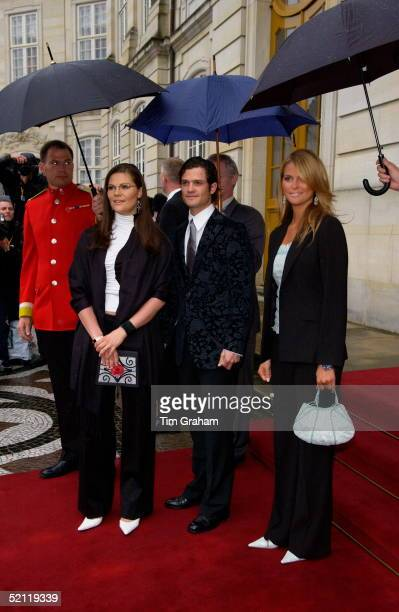 Crown Princess Victoria Of Sweden With Brother Prince Carl Philip And Sister Princess Madeleine Of Sweden Leaving The Palace After Dinner To Attend A...