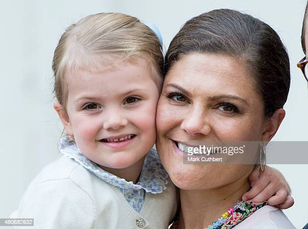 Crown Princess Victoria of Sweden with Princess Estelle of Sweden at the 38th birthday celebrations for Crown Princess Victoria at Solliden on July...