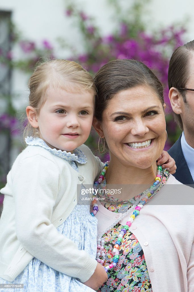 Crown Princess Victoria of Sweden, with Princess Estelle of Sweden, attend the Celebration for The Crown Princess Victoria of Sweden's 38th Birthday at Solliden Palace, on July 14th, 2015 in Borgholm, Sweden.