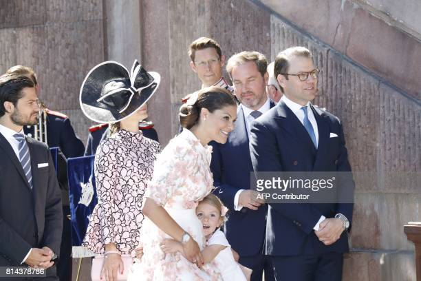 Crown Princess Victoria Prince Daniel and Princess Estelle attend a reception in the Royal Chapel during celebrations of Princess Victoria's 40th...