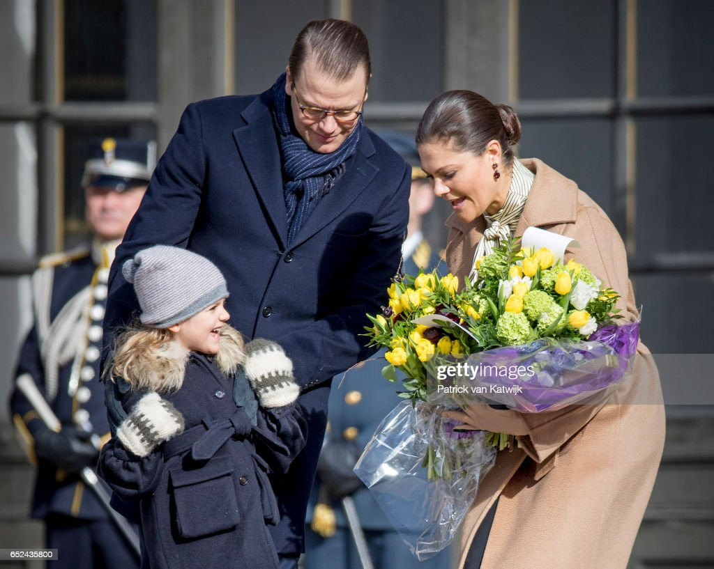 Crown Princess Victoria, Prince Daniel and Princess Estelle celebrate the Name Day ceremony of the Crown Princess at the inner square of the Royal Palace on March 12, 2017 in Stockholm, Sweden.