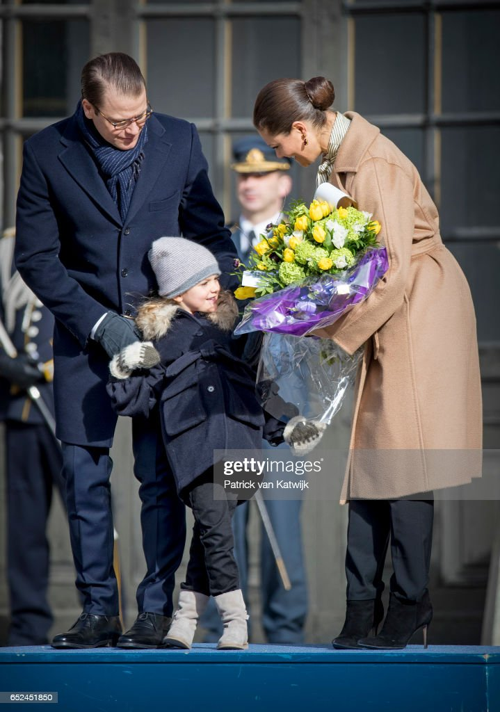 Crown Princess Victoria, Prince Daniel, and Princess Estelle celebrate the Name Day ceremony of the Crown Princess at the inner square of the Royal Palace on March 12, 2017 in Stockholm, Sweden.