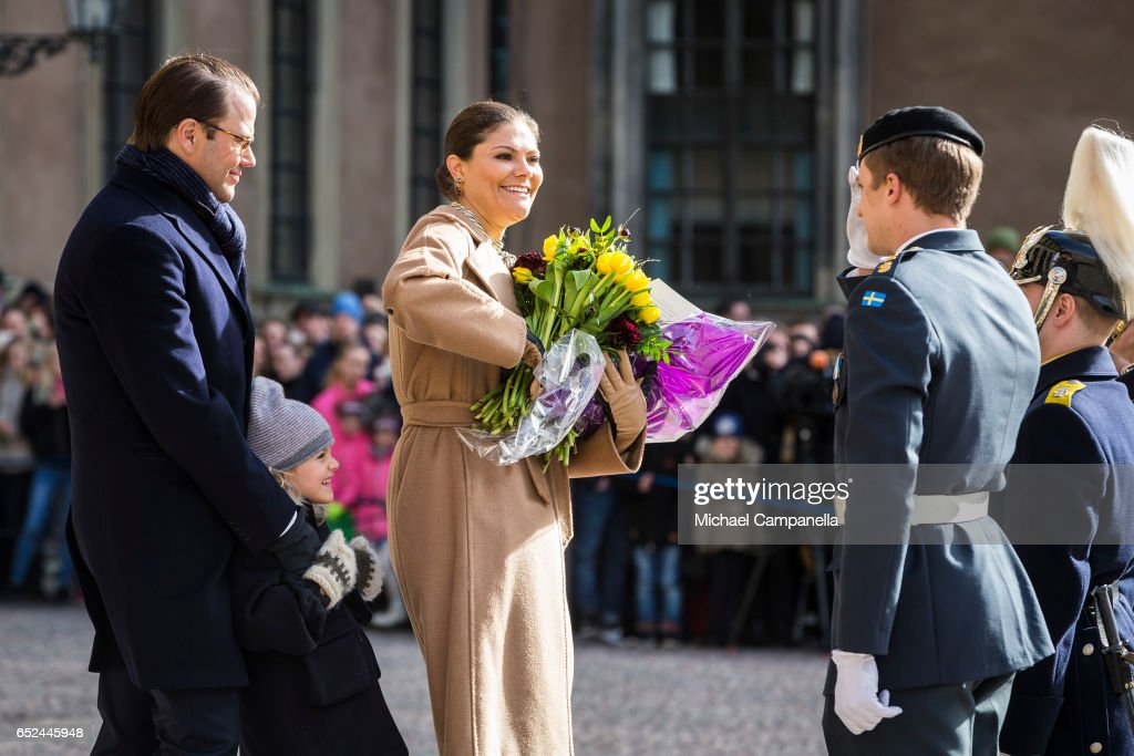 Crown Princess Victoria, Prince Daniel, and Princess Estelle of Sweden attend a name day celebration for Princess Victoria at the Royal Palace on March 12, 2017 in Stockholm, Sweden.