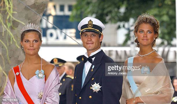 Crown Princess Victoria Princess Madeleine And Prince Carl Philip Of Sweden Attend The Wedding Of Crown Prince Haakon Of Norway And MetteMarit In Oslo