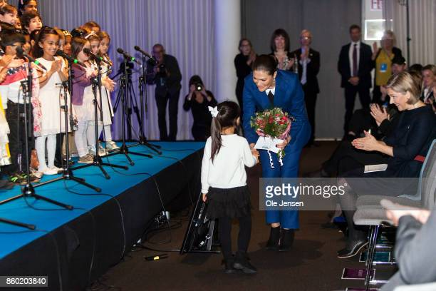 Crown Princess Victoria receives welcome flowers at the Life Below Water UN Conference on October 11 2017 in Malmo Sweden The 'Life Below Water...