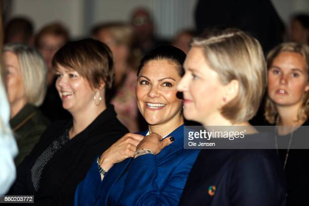 Crown Princess Victoria seen at the Life Below Water UN Conference on October 11 2017 in Malmo Sweden The 'Life Below Water purpose is to promote...