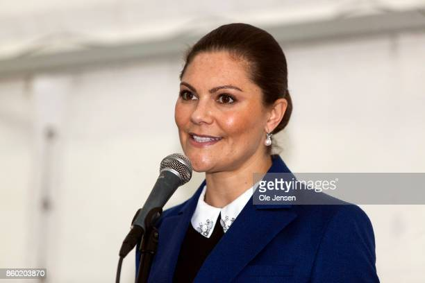 Crown Princess Victoria speaks at the inauguration of the Marine Pedagogical Learning Center on October 11 2017 in Malmo Sweden Before this she...