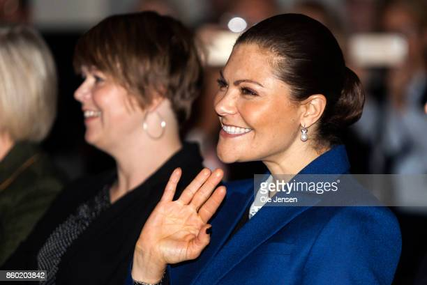 Crown Princess Victoria waves to children who sings for her and the other participants at the Life Below Water UN Conference on October 11 2017 in...
