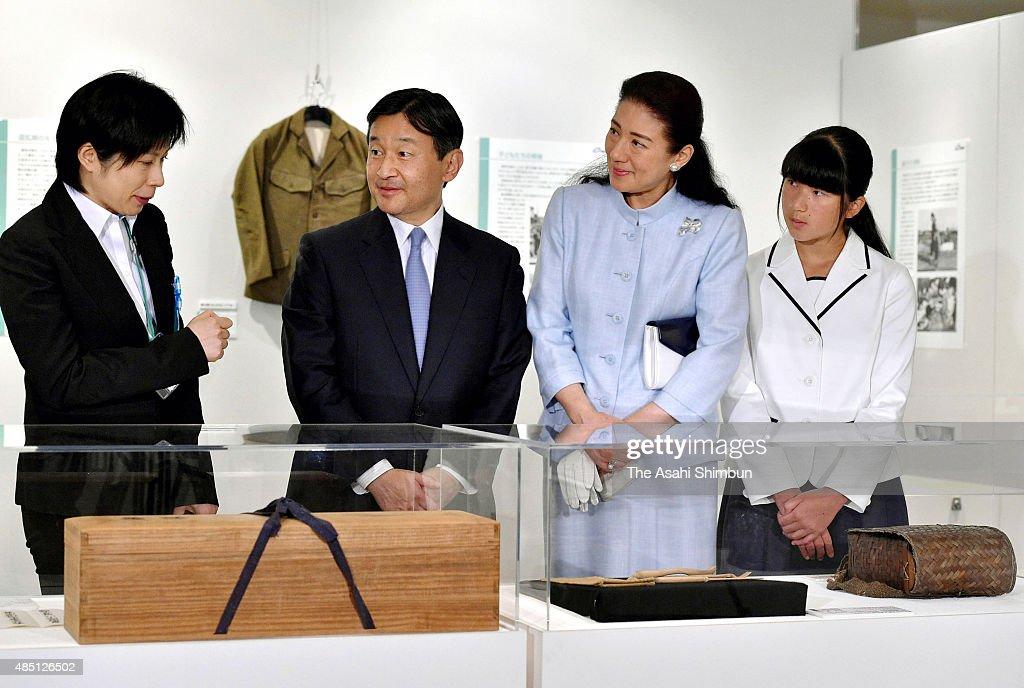 Crown Prine Naruhito Crown Princess Masako and Princess Aiko visit the 70th anniversary of WWII surrender exhibition at Hibiya Library and Museum on...