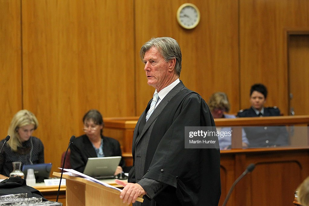 Crown prosecutor Brent Stanaway speaks in court on February 20, 2014 in Christchurch, New Zealand. In 2013, Helen Milner was found guilty of the murder and attempted murder of her husband, Philip Nisbet, who was found dead in their Halswell home on May 4, 2009.