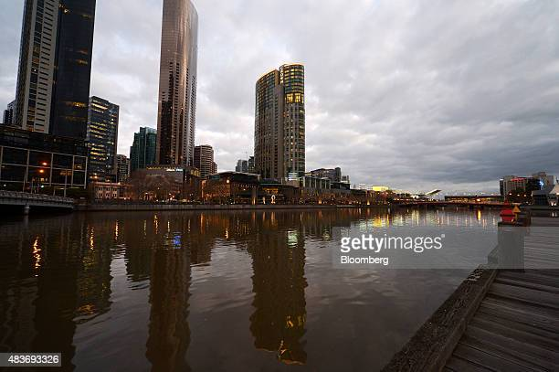 Crown Resorts Ltd's Crown Towers hotel part of the Crown Melbourne casino and entertainment complex center stands along the Yarra River in Melbourne...