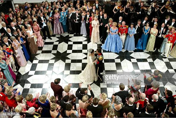 CrownPrince Frederik and Mary Donaldson during Danish Royal Wedding Banquet and Waltz at Fredensborg Palace at Fredensborg Palace in Copenhagen...