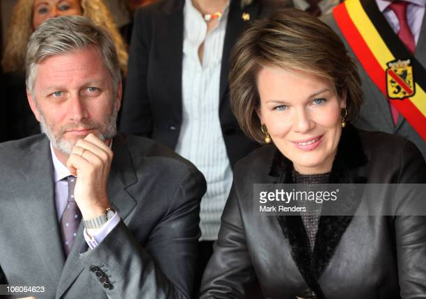 Crownprince Philippe and Princess Mathilde of Belgium pictured during a visit to CPAS on October 26 2010 in Namur Belgium Prince Philippe and...