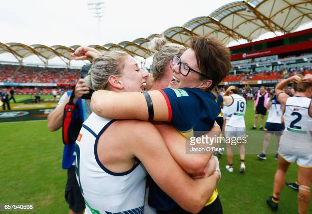 Crows coach Bec Goddard celebrates during the AFL Women's Grand Final between the Brisbane Lions and the Adelaide Crows on March 25 2017 in Gold...