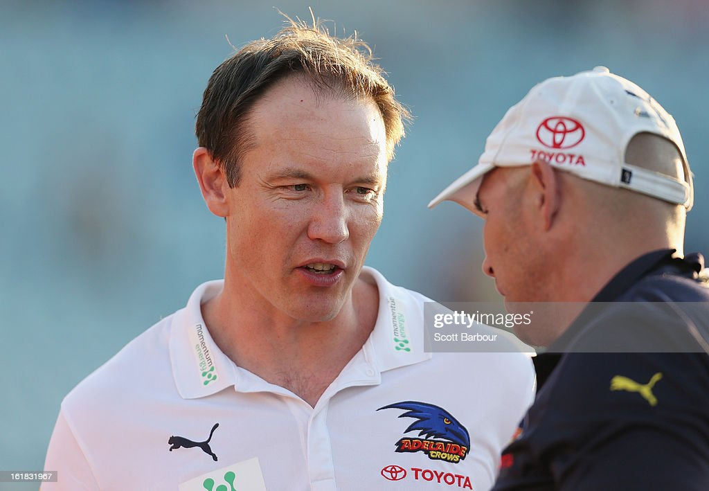 Crows coach <a gi-track='captionPersonalityLinkClicked' href=/galleries/search?phrase=Brenton+Sanderson&family=editorial&specificpeople=224964 ng-click='$event.stopPropagation()'>Brenton Sanderson</a> looks on after the round one AFL NAB Cup match between the Adelaide Crows and the Port Adelaide Power at AAMI Stadium on February 17, 2013 in Adelaide, Australia.