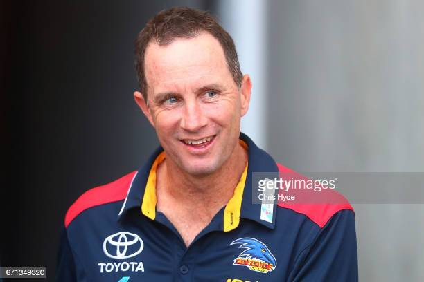 Crows coach Don Pyke looks on before the round five AFL match between the Gold Coast Suns and the Adelaide Crows at Metricon Stadium on April 22 2017...