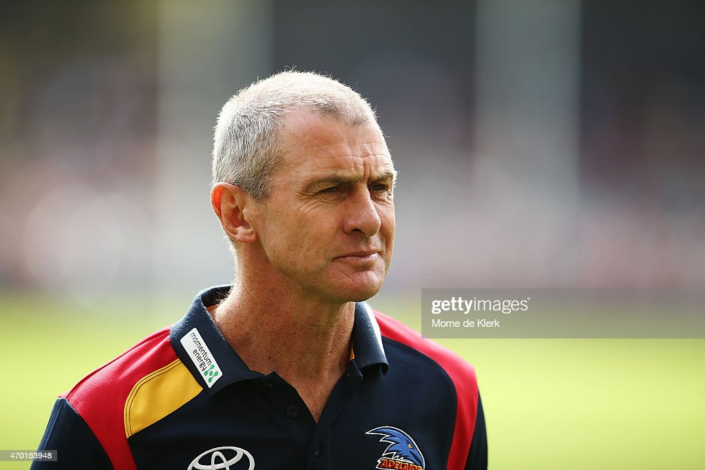 Crows coach Phil Walsh looks on during the round three AFL match between the Adelaide Crows and the North Melbourne Kangaroos at Adelaide Oval on...
