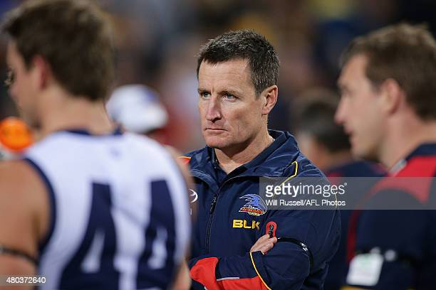 Crows Coaching Director John Worsfold looks on during the quarter time break during the round 15 AFL match between the West Coast Eagles and the...