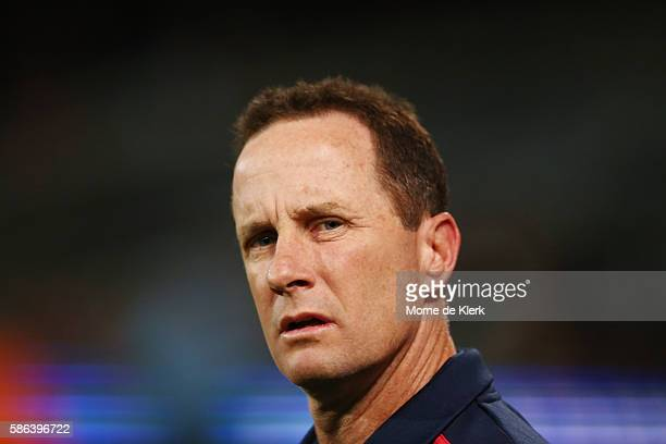Crows head coach Don Pyke looks on during the round 20 AFL match between the Adelaide Crows and the Brisbane Lions at Adelaide Oval on August 6 2016...
