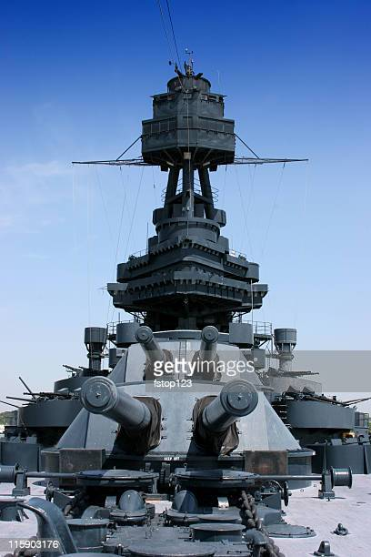 Crows Nest and big guns on Battleship Texas
