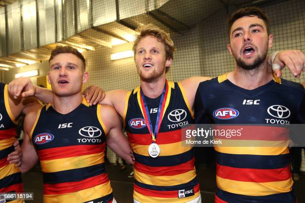 Crows players celebrate after the round three AFL match between the Port Adelaide Power and the Adelaide Crows at Adelaide Oval on April 8 2017 in...