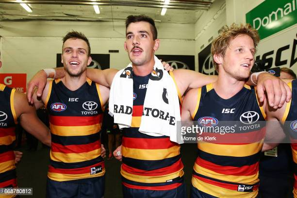 Crows players celebrate after winning the round four AFL match between the Adelaide Crows and the Essendon Bombers at Adelaide Oval on April 15 2017...